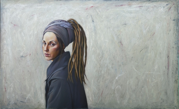 The Girl with the metal piercing_painting by Flavia Codsi